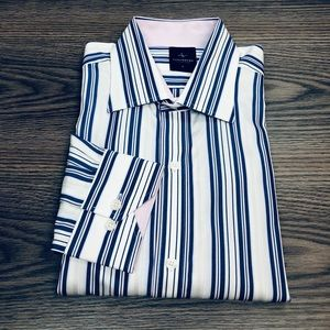 Tailorbyrd White, Blue & Lilac Stripe Shirt L